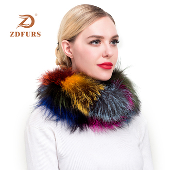 ZDFURS* 2018 New Women Fox Fur Scarf Snood Colorful Real Fur Wraps Silver Fox Fur Collars Scarves Multicolor Fashion Fur Shawls new 2019 real fox fur handbag 100