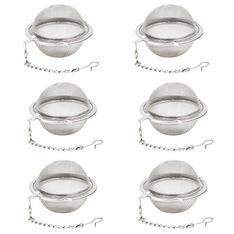 LBER 6 Piece Stainless Steel Mesh Tea Ball 2 Inch Tea Infuser Strainers Tea Strainer Filters Tea Interval Diffuser For Tea