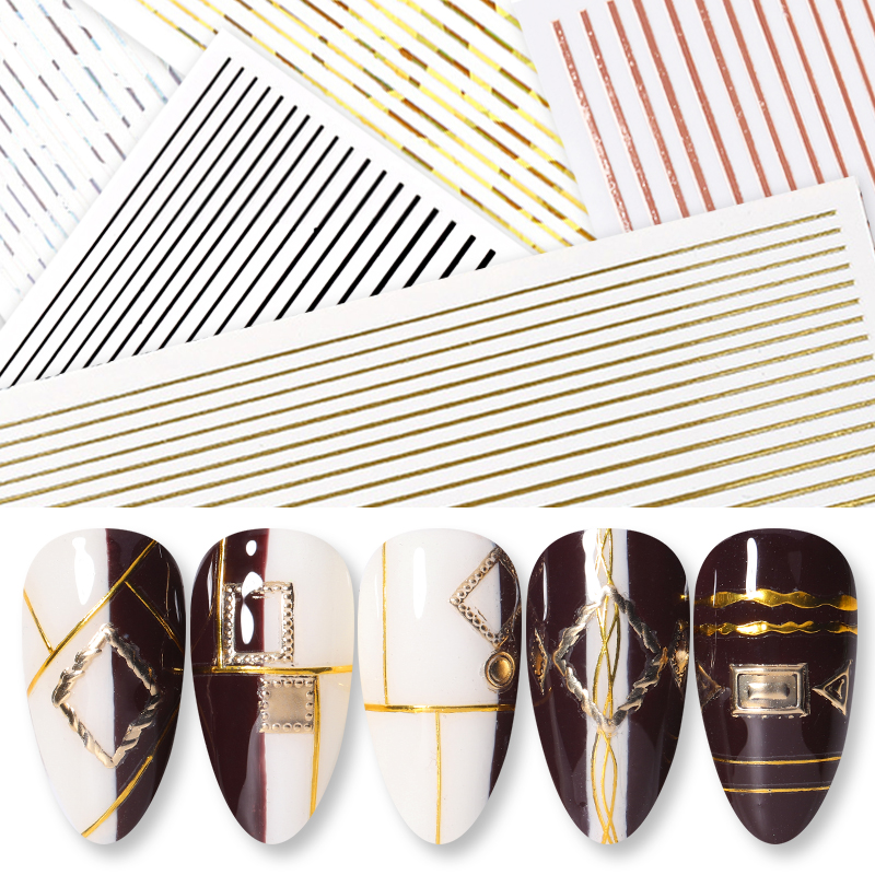 1 Sheet Nail Sticker 3D Gold Silver Stripe Lines Metal Strip Tape Multi-size Adhesive Nail Stickers Nail Art DIY Decoration