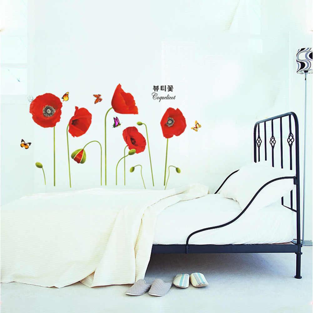 אדום פרג פרחים שינה פרפרי קיר מדבקות אמנות מדבקות טפט קיר בית תפאורה טלוויזיה רקע 50*70cm