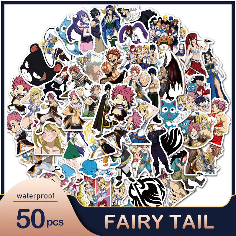 50PCS Anime Fairy Tail Stickers Car Bike Travel Luggage Phone Guitar Laptop Fridge Waterproof Classic Toy Decal Wall Stickers
