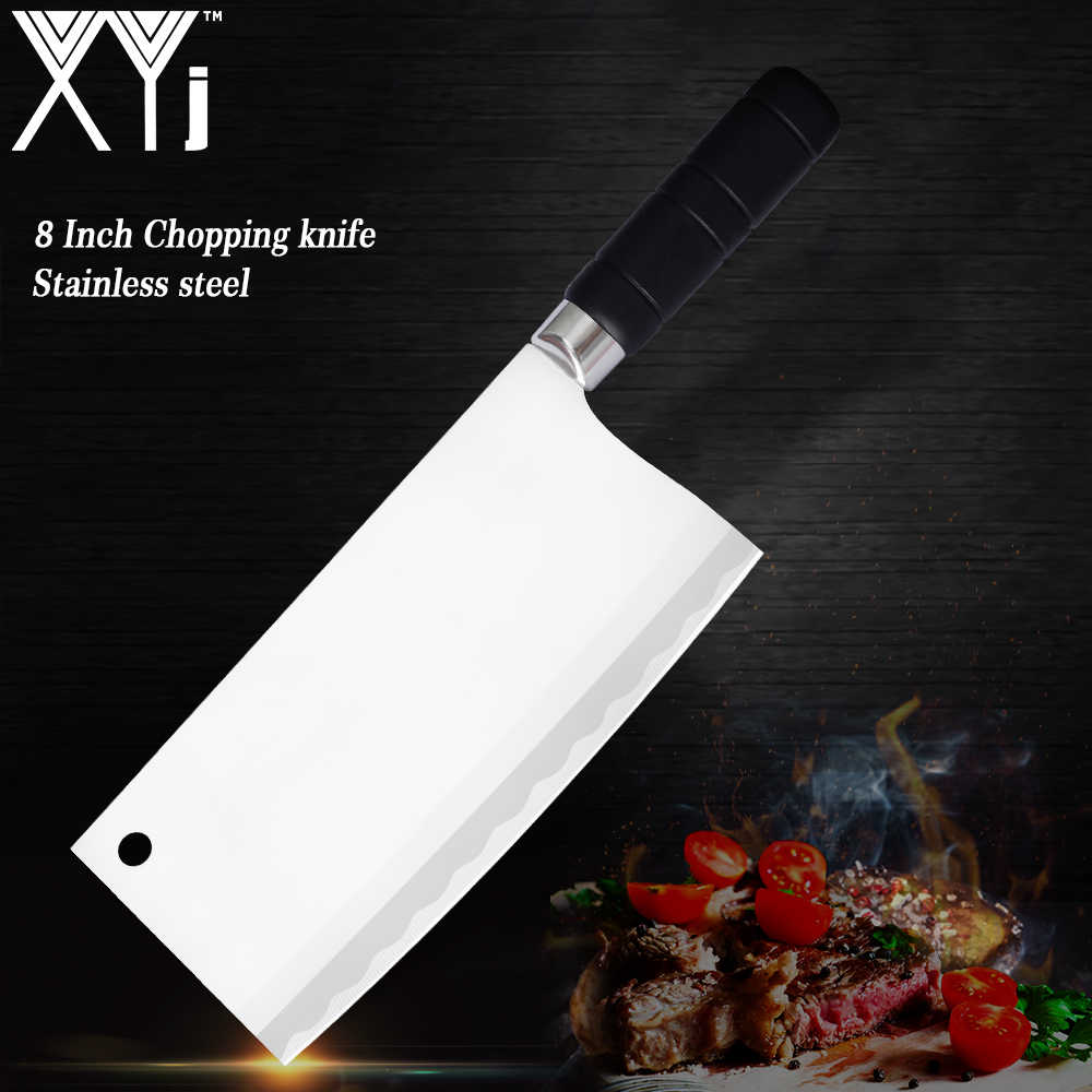 XYj Kitchen Knife 8 inch Chopping Cook Tools 3Cr13 Meat Cleaver Chinese Kitchen Knives Chef Slicing Cooking Accessories Nakiri