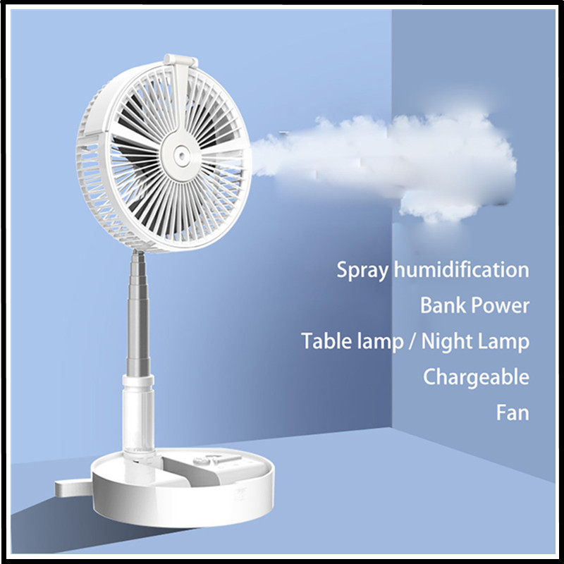 blue Fan+Humidification Colorful Light,White /& Blue 1PC Mini Spray Cooling Fan,Adjustable Wind power with Rechargeable USB Atmosphere Nightlight for Car Home Office