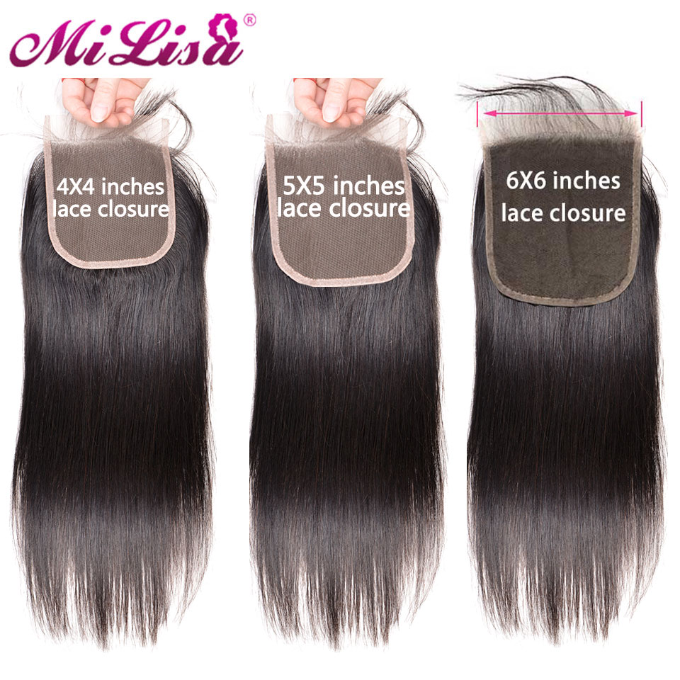 Lace Closure Human-Hair Free-Part Milisa Straight Brazilian 5X5 6X6 Natural-Color 4X4 title=