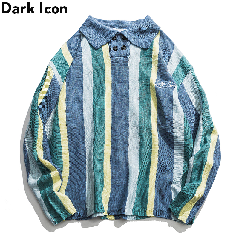 Sweater Men Oversized Turn-Down-Collar Streetwear Stripe Front Buttons Vertical Hip-Hop