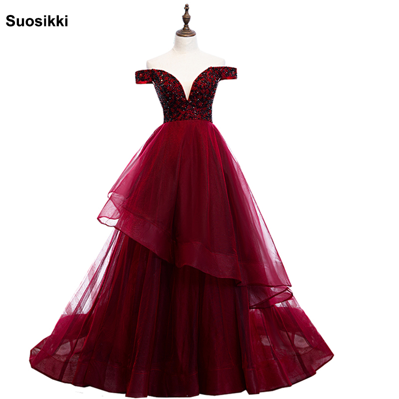 Beading Prom Dresses 2019 V Neck Pink High Split Tulle Sweep Train Sleeveless Evening Gown A-line Lace Up Backless Vestido De