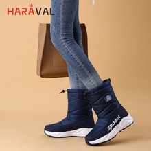 HARAVAL Winter Woman Mid-calf Boot Quality Cotton Fabric Round Toe Thick Heel Shoes Solid Slip-on Casual Warm Fashion Snow Boots цена 2017