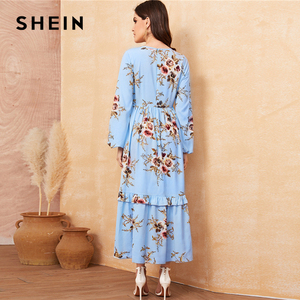 Image 4 - SHEIN Floral Ruffle Hem Fit and Flare Long High Waist Dress Women Spring Autumn Bishop Long Sleeve Boho Elegant Dresses