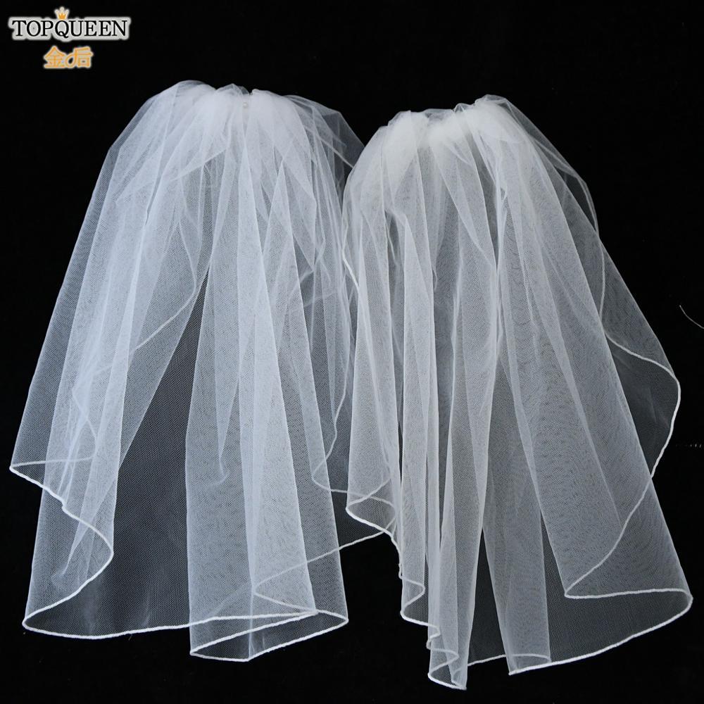 TOPQUEEN V14 Simple White ivory Veil for Bride Shoulder Length Veil Short Wedding Veils for Brides Crocheted Blusher Veil Comb