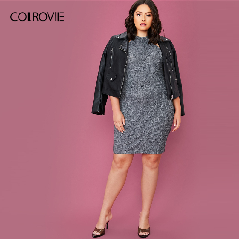 COLROVIE Plus Size Solid Rib-knit Halter Bodycon Dress Women Sleeveless Sexy Mini Dress 2020 Summer High Stretch Grey Dresses 4