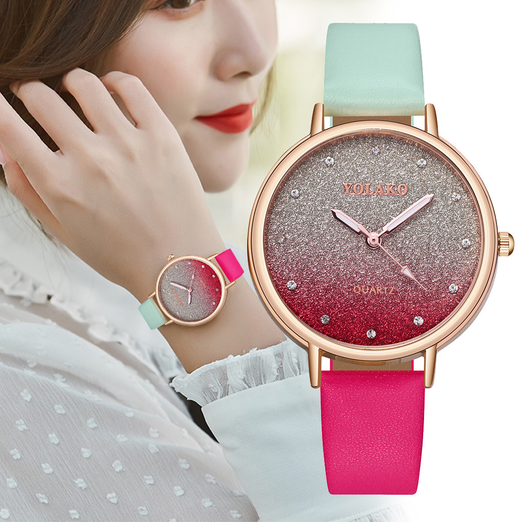 Female Watches Brand Luxury Women Casual Bracelet Watch Quartz Leather Band New Strap Analog Wrist Watch Relogio Feminino 533