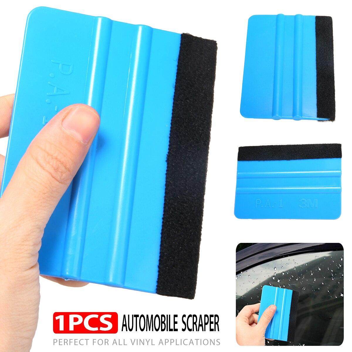 10x7.5cm Blue Plastic Car Vinyl Squeegee Blade Soft Felt Edge Decal Wrap Scraper For Auto Vinyl Application Tool
