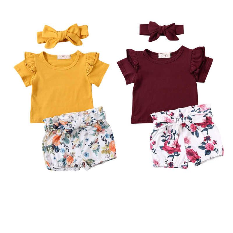 0-24M bebek bebek kız giysileri setleri fırfır kollu kısa kollu T shirt üstleri + çiçek şort + kafa bandı 3 adet