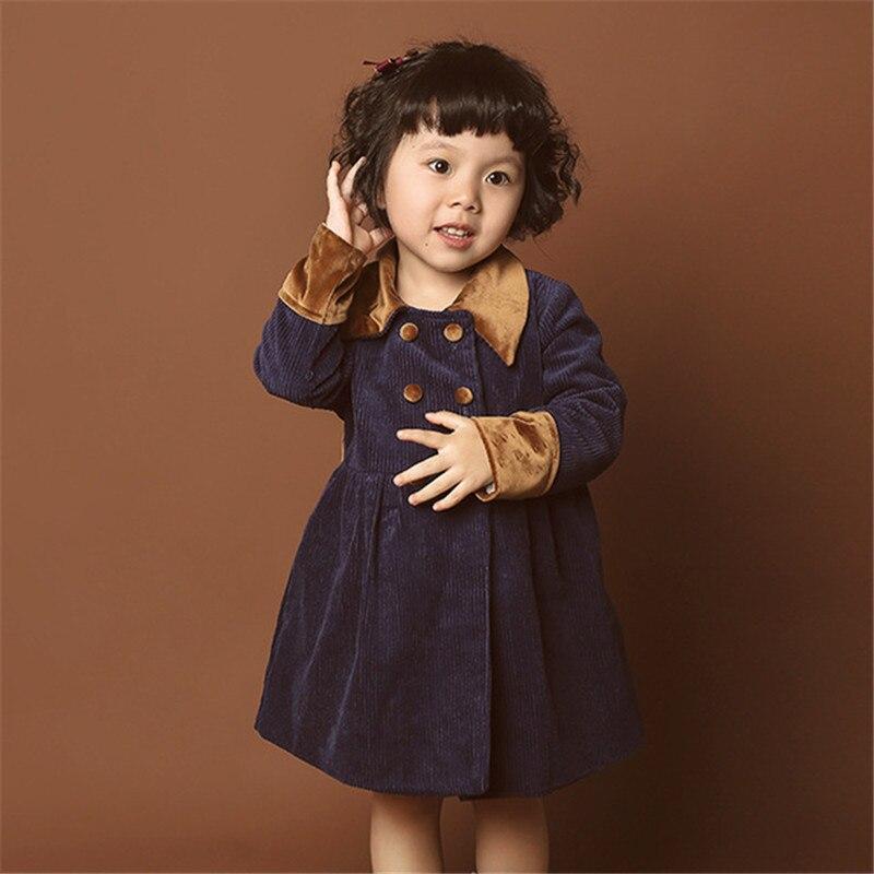 Nouvel an hiver enfants bébé fille vestes filles enfants haute qualité velours côtelé épais chaud manteau Style britannique bambin Trench Coat