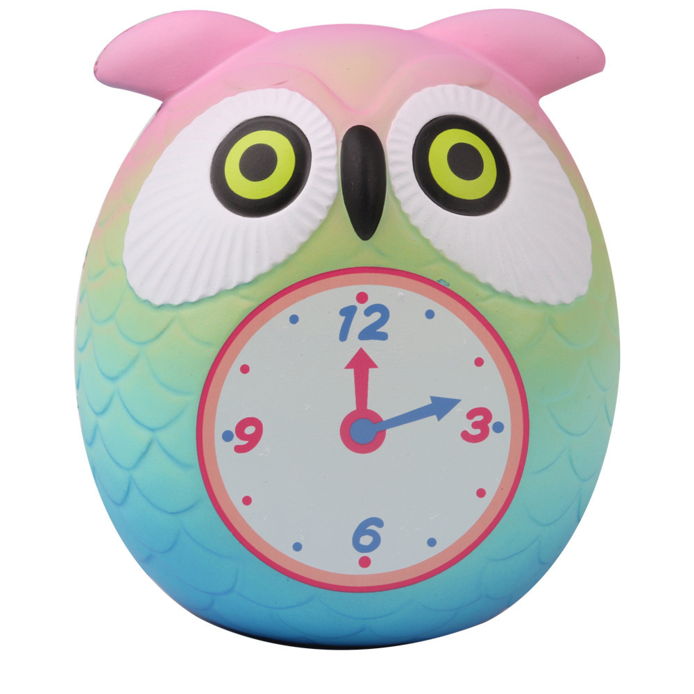 Squeeze Cute Owl Clock Slow Rising Cream Scented Decompression Toys Cartoon Adults Healing Anti-stress Toys #C