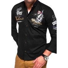 ZOGAA Casual Mens Shirts Full Sleeve Fashion Long Slim Fit Men Cotton Shirt Long-sleeved Outwear 2019