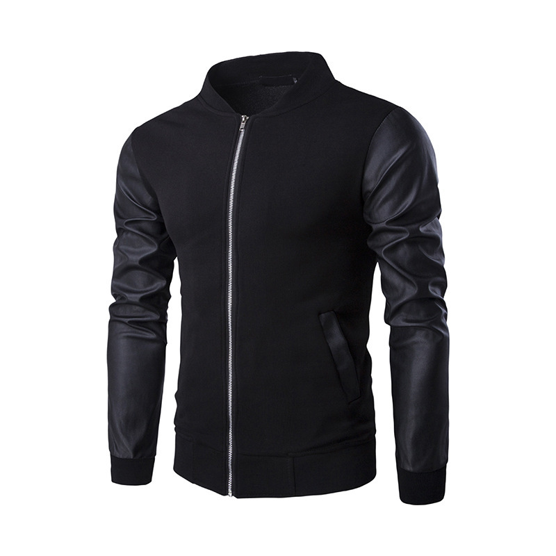 New Style Leather Stitching Stand Collar Jacket Spring And Autumn Coat Fashion Slim Fit Long Sleeve MEN'S Jacket Men's Jk01