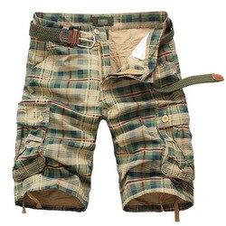 Красивые Летние Шорты Карго, мужские повседневные клетчатые пляжные шорты, камуфляжные шорты, комбинезоны с несколькими карманами, военные...