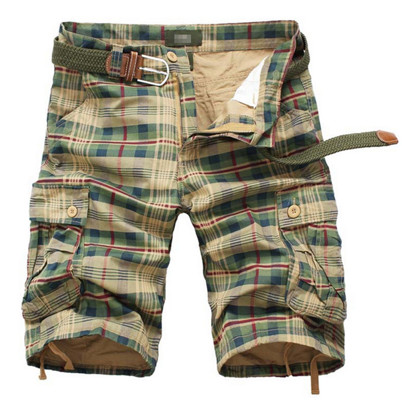 Nice Summer Cargo Shorts Men Casual Plaid Beach Shorts Camo Camouflage Shorts Overalls Multi-Pocket Military Short Male Bermuda