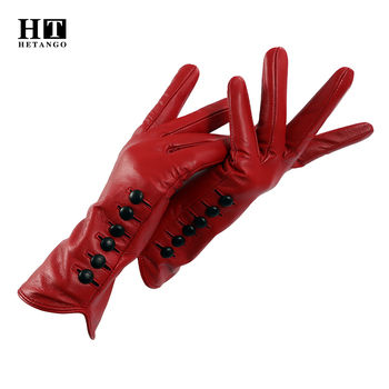 New Women Gloves Genuine Leather Winter Autumn Ladies Fashion Brand High quality goat skin Warm 6 buckle Colored mittens brand russian winter women warm fashion gloves female genuine leather mittens 100