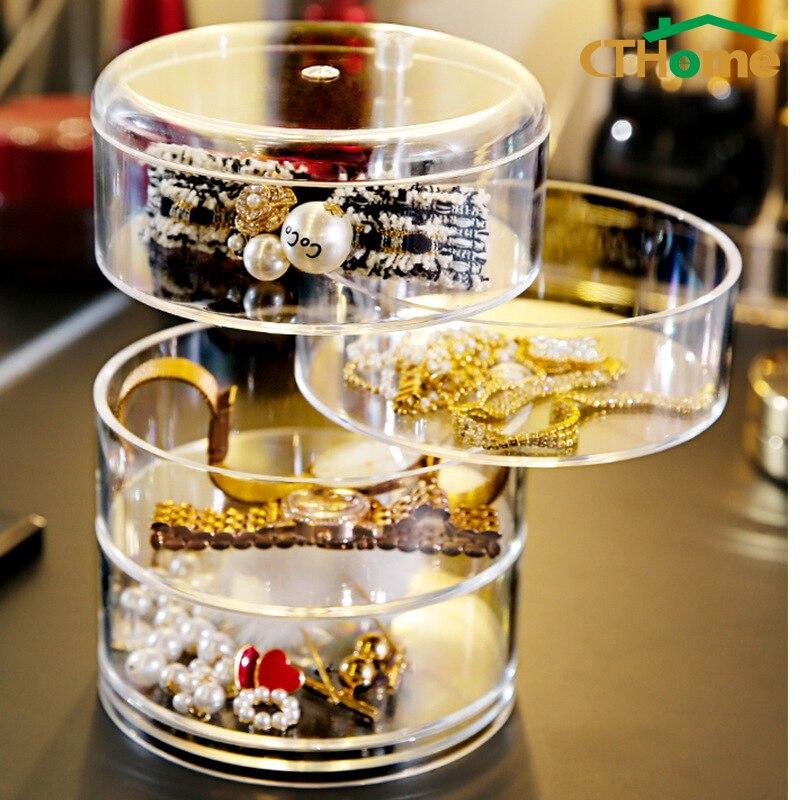 Caja de plástico para almacenamiento de joyas para mujer, nuevo diseño de moda, accesorio para maquillaje giratorio de 4 capas, bandeja organizadora con tapa, regalo de cumpleaños 41x22,6 cm 5 agujeros anillo ranuras de cuerda gancho organizador de bufandas bufanda Wraps chal almacenamiento suspensión anillo gancho para corbatas cinturón Rack