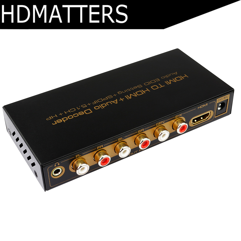 HDMI 5.1 CH digital audio decoder converter Hdmi to Hdmi + Audio Decoder Extractor Splitter  Dolby Digital Ac3,dts,lpcm supports