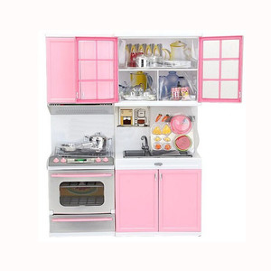Kawaii Pretend Play Mini Simulation Kitchen Toys Pink Household Appliances Toy Cooking Set Cabinet Stove for Kids Children