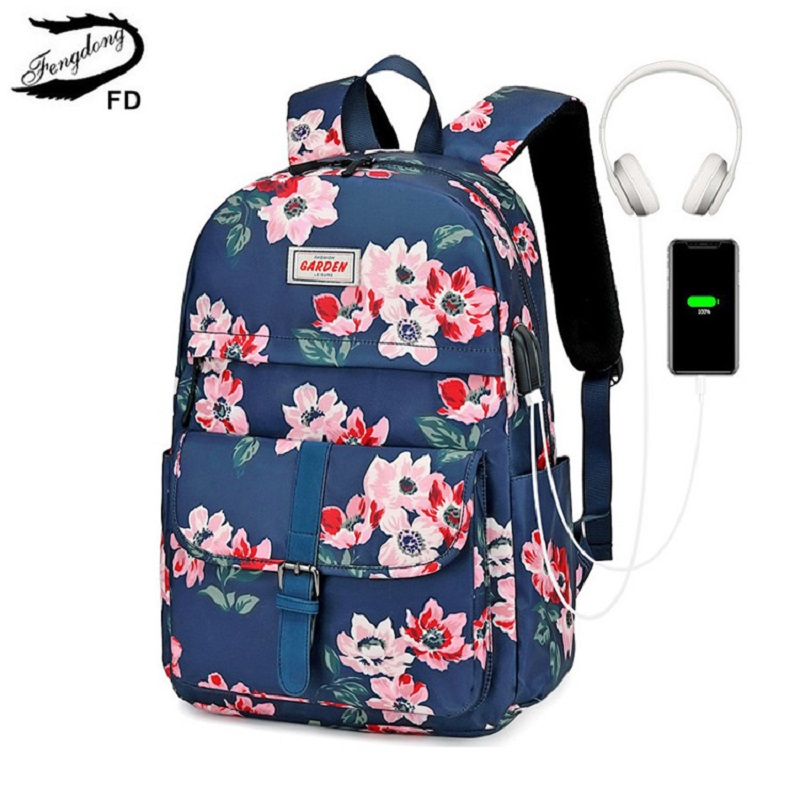 Fengdong floral school backpack for girls women vintage flower bag female travel backpack kids school bag student big backpack