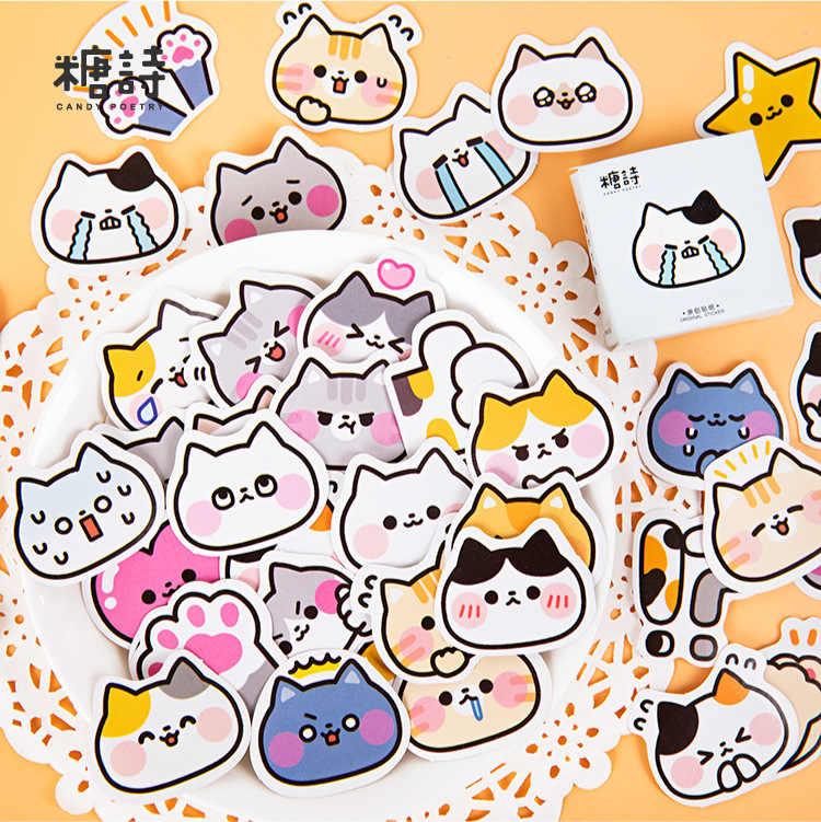 45 pièces/boîte mignon Meow bataille Journal autocollants décoratifs Scrapbooking bâton étiquette Journal papeterie Album animal chat autocollants