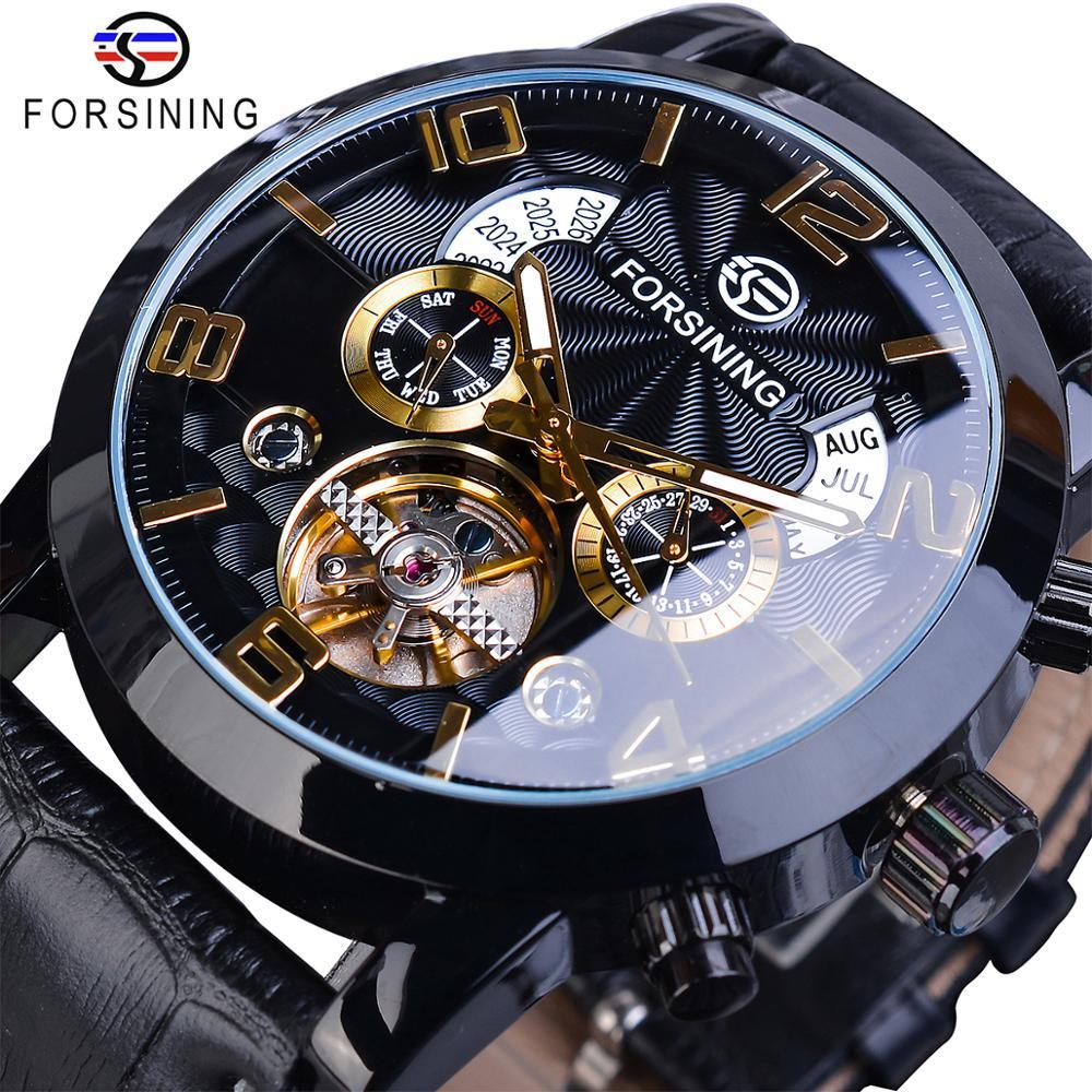 Forsining Tourbillon Mode Welle Schwarz Goldene Uhr Multi Funktion Display Mens Automatische Mechanische Uhren Top Marke Luxus