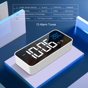 Image 3 - Bedside Wake Up Digital Mirror Led Music Alarm Clock with Snooze Temperature Thermometer Acoustic Voice Control Backlight