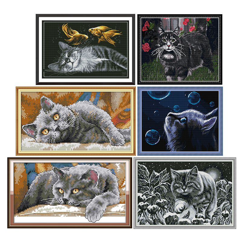 Cat at night cross stitch kit 11CT14CT printed pattern craft Chinese sewing needlework dmc counted embroidery accessories decor