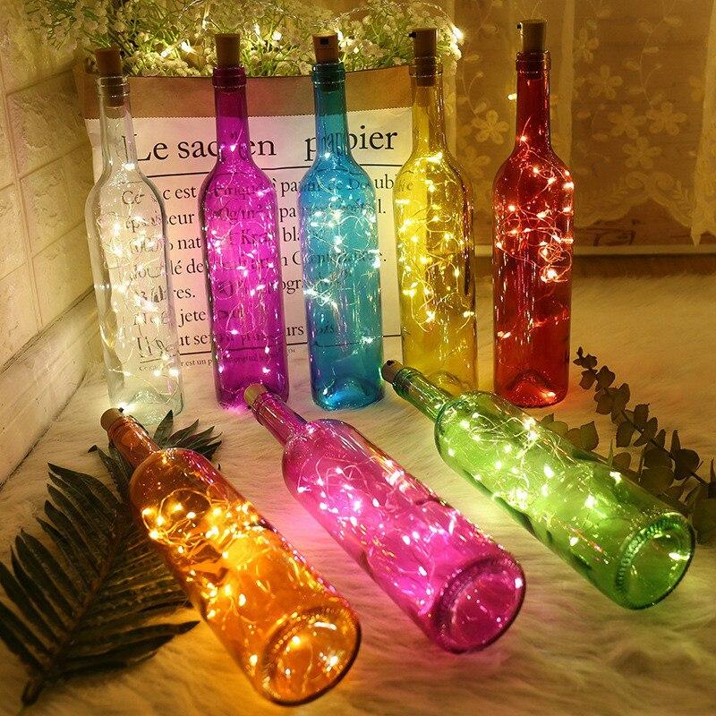 Año nuevo 2m 20 LED de la botella de vino de luces de batería construida en Garland DIY guirnaldas navideñas de luces adornos navideños para el hogar
