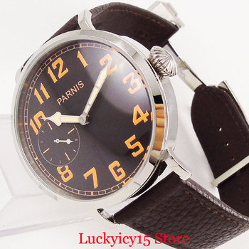 Круглые Наручные часы PARNIS с верхней стороны 46 мм Серебристый футляр для часов 6497 Движение оранжевые метки