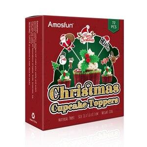 Image 5 - 72pcs Merry Christmas Cake Topper Cupcake Toppers Muffin Santa Claus Christmas Tree Snowman Cute Fruit Cake Picks Xmas Supplies