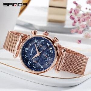 Image 4 - SANDA Womens Watches Top Brand Luxury Waterproof Watch Fashion Ladies Stainless Steel Ultra Thin Casual Wrist Watch Quartz Clock