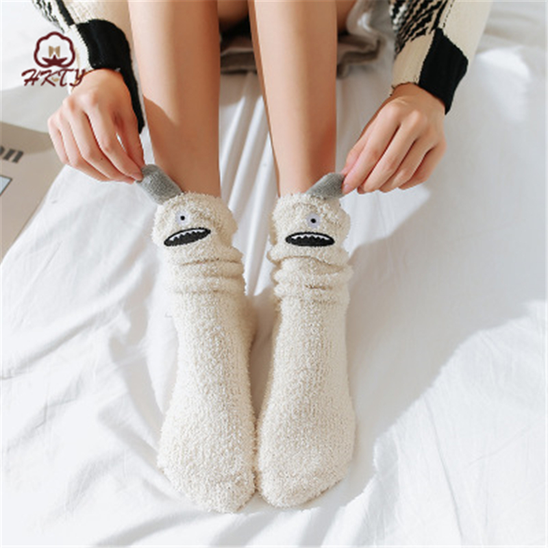 Interesting Girl Coral Socks Fabulous Elastic Home Women Girls Soft Bed Floor Socks Fluffy Warm Winter Breathable Soft Socks2019