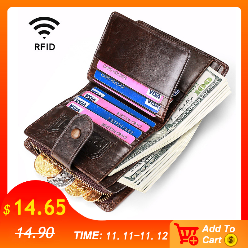 New Arrive Genuine Leather Wallet Vintage Rfid  Zipper Coin Purse Money Bag Portomonee Bifold Hasp For Men Wallets