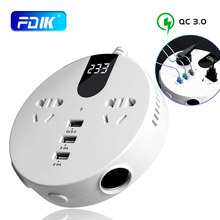 FDIK 150w Car Power Inversor with 3 usb Car charger DC 12V/24V to AC 110V/220V Fast Charger 2 AC Socket Car Adapter Converter