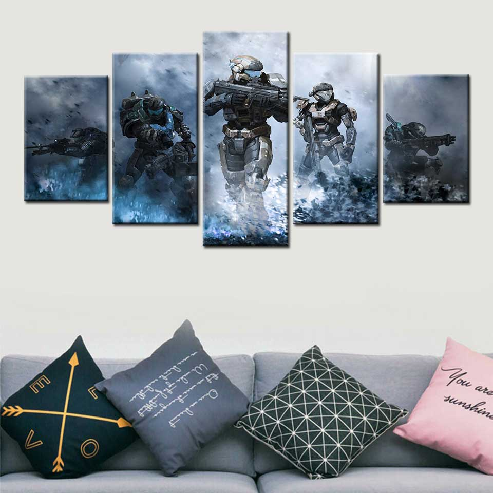 5 Panels Video Games Halo Poster Wall Art Canvas Painting Pictures For Living Room Home Decor image