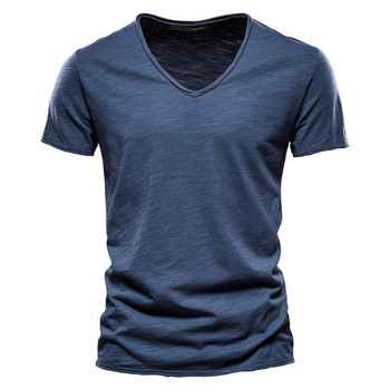 Brand Quality 100% Cotton Men T-shirt V-neck Fashion Design Slim Fit Soild T-shirts Male Tops Tees Short Sleeve T Shirt For Men 1