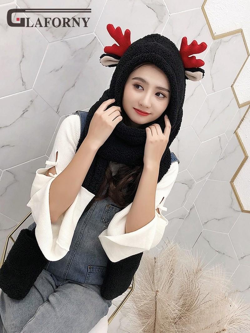 2019 Winter Korean Version Of The Hat Thickened Double-deck Hats Scarf Gloves Cartoon Children's Hat Antlers Parent-child Hats
