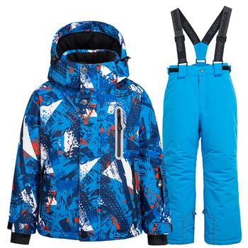 Kombinezon narciarski dla dzieci narciarstwo i snowboard kurtki + spodnie chłopcy dziewczęta zimowe wiatroszczelne wodoodporne ciepłe kombinezony narciarskie Outdoor Sports tanie i dobre opinie Dobrze pasuje do rozmiaru wybierz swój normalny rozmiar CN (pochodzenie) 082101 Plaid POLIESTER