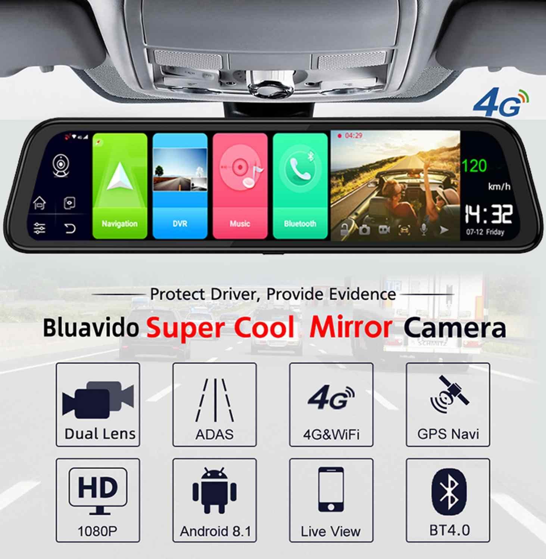 Bluavido 4G Android 8.1 Cermin DVR 2GB RAM 32GB ROM GPS Navigasi Mobil DVR Belakang Cermin 1080P Dash Cam Kamera Video Perekam