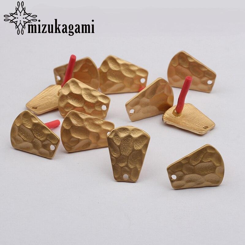 Zinc Alloy Golden Bump Geometric Fan Earring Base Matte Golden Earrings Connector 6pcs/lot 18mm For DIY Earrings Accessories