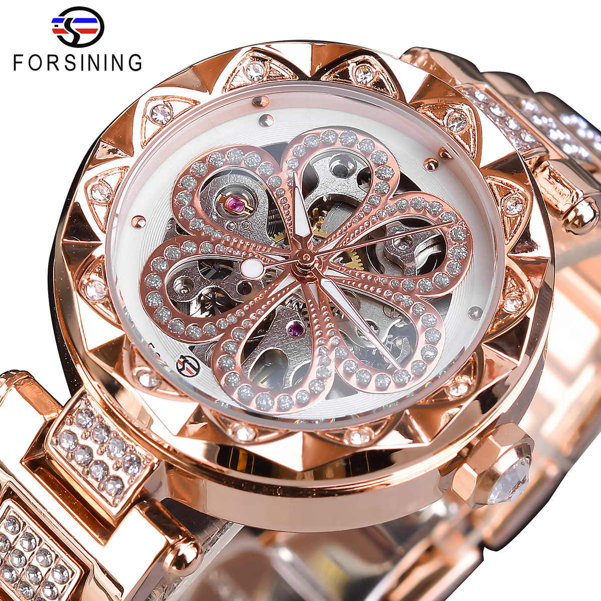 Forsining Fashion Women Watch Top Brand Diamond Female Wristwatch Automatic Machanical Watches Waterproof Luminous Hands Clock