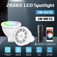 Gledopto rgbcct gu10 mr16 zigbee zll rgb + dupla cor branca led spotlight AC100 240V trabalho com amazon alexa gateways app controle|Lâmpadas LED e tubos|   -