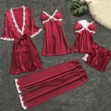 Sexy Women's Robe & Gown Suit Sexy Lace Women Nightwear Underwear Babydoll Sleepwear Nightdress Femme Plus Size 5PC 9.25