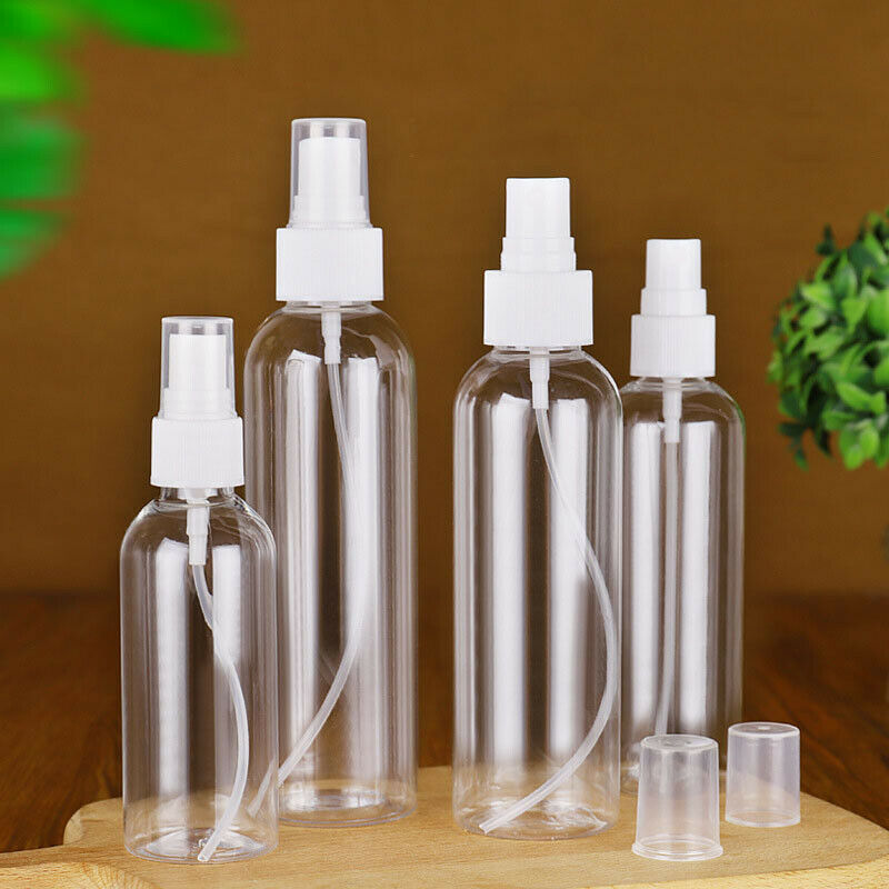 5PCS 100/50ml Transparent Empty Spray Bottles Plastic Mini Refillable Container Empty Cosmetic Bottle Travel Atomizer Alcoho