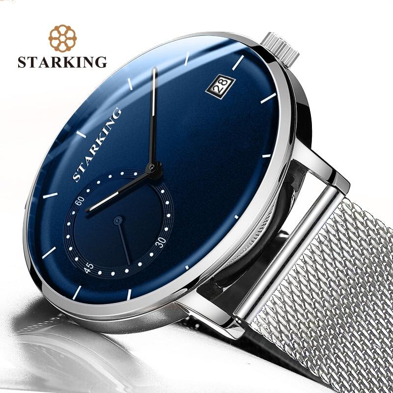 STARKING Dress Men Watch Steel Mesh Band Quartz Analog Wristwatch 3ATM Waterproof Curved Glass Blue Male Innrech Market.com